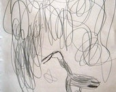 Great Blue Heron Original Drawing 11 in X 14 in