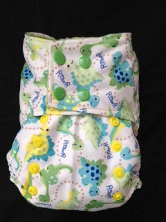 One-Size Cloth Diaper Cover: Dinos Print