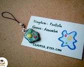 Miniature Clay Amoeba, blue, keychain, charm, gift box, mini, tiny, small, dollhouse, faux rhinestone, accessories, iammie, lammie