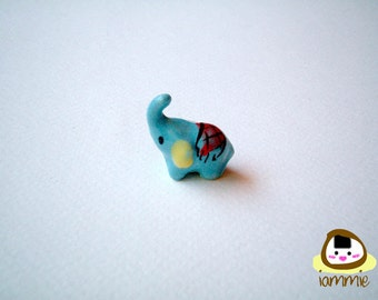 Little Light Blue Ceramic Elephant: mini animal, ceramic animal, miniature elephant, small animal, little animal, miniature animal, iammie