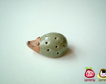 Little Light Green Porcupine Figure, ceramic, hedgehog, mini animal, ceramic animal, small, little, miniature animal, mole, iammie, lammie