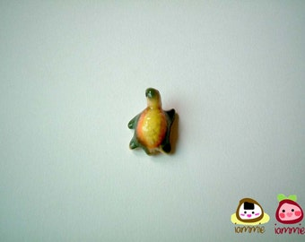 Miniature Ceramic Turtle, tortoise, orange, yellow, green, porcelain animal, small turtle, tiny animal, small animal, mini turtle, iammie