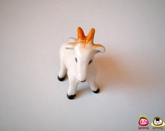 Little White Ceramic Goat Figure, figurine, miniature, miniature animal, decoration, small, tiny, ceramic animal, ceramic goat, iammie