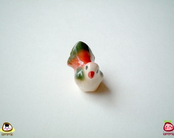 Miniature Bird Figurine, ceramic bird, red, white, green, ceramic animal, porcelain, tiny, little animal, mini bird, little bird, iammie