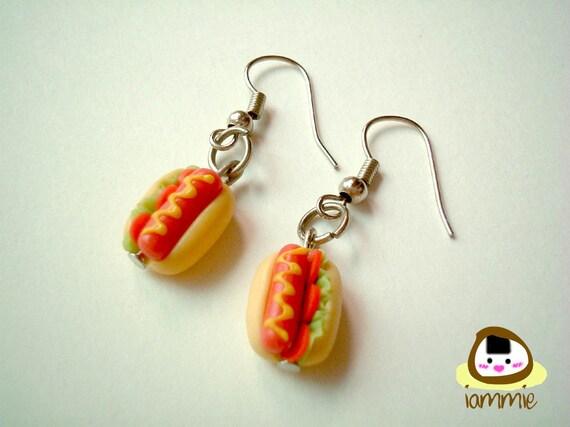 Miniature Clay Sausage Buns Dangle Earrings with a Pretty Gift Box, accessories, cute, kawaii, tiny food, hot dog, present, iammie, lammie