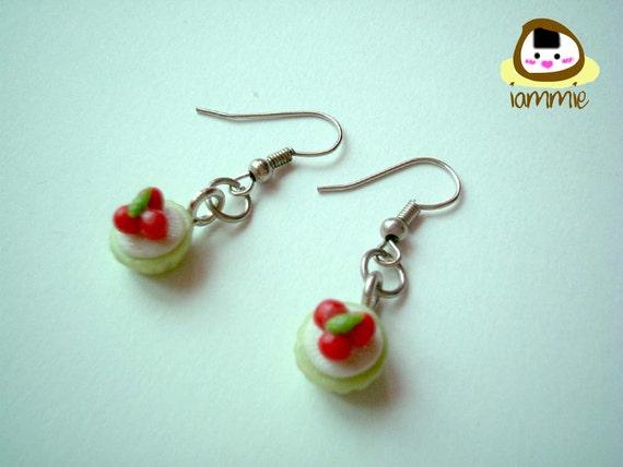 Miniature Cherry Clay Cupcake Dangle Earrings, Gift Box, accessories, cute, fake rhinestone, faux, gem, green, present, iammie, lammie