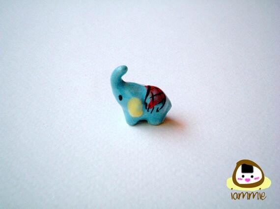 Little Light Blue Ceramic Elephant: mini animal, ceramic animal, miniature elephant, small animal, little animal, miniature animal, iammie