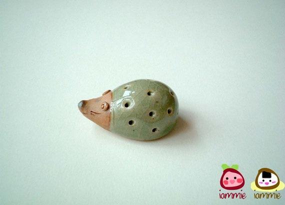 Little Light Green Porcupine Figure, ceramic, hedgehog, mini animal, ceramic animal, small, little, miniature animal, mole, iammie, lammie