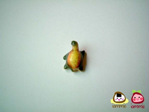 Miniature Ceramic Turtle, tortoise, orange, yellow, green, porcelain animal, small turtle, tiny animal, small animal, mini turtle, iammie