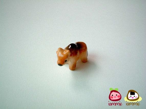 Miniature Brown Ceramic Cow, ox, porcelain animal, small cow, tiny animal, mini, small, farm, country, animal figure, iammie