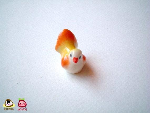Miniature Bird, Yellow and Orange, Ceramic bird, desk buddy, porcelain, tiny animal, little animal, mini bird, little bird, iammie, lammie