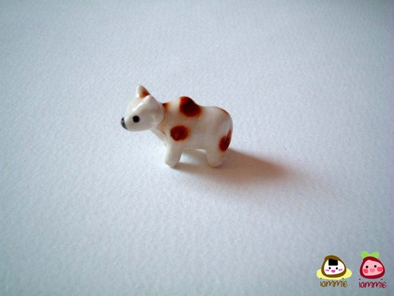 Miniature White and Brown Ceramic Cow, ox, porcelain animal, small, tiny animal, small animal, mini cow, farm, iammie, lammie, cow figure
