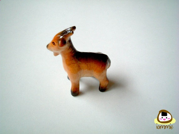 Little Brown Ceramic Goat Figure, desk buddy, porcelain animal, small, tiny animal, miniature animal, mini animal, little animal, iammie