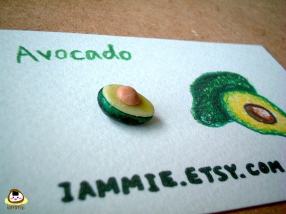 Miniature Clay Avocado Figurine, green, charm, gift box, clay fruits, clay food, accessories, little, small, tiny, iammie, lammie