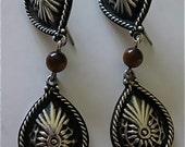 REDUCED Native American Sterling Silver Tigereye Earrings