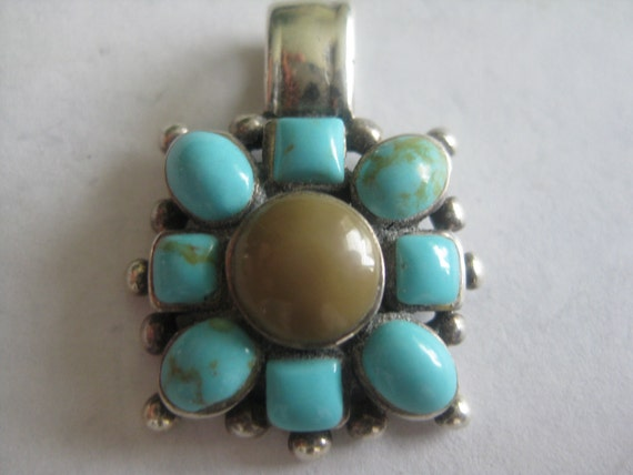Sweet Turquoise and Coral Flower Pendant