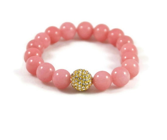 beautiful light pink gemstone beaded by themagnoliablossom