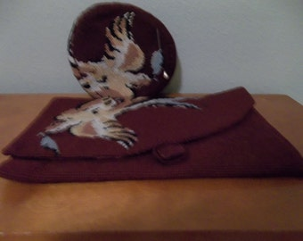Antique Needlepointed Clutch Purse & Pillbox Hat Set-FREE SHIPPING!