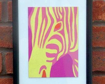 Zebra - A5 original oil pastel drawing