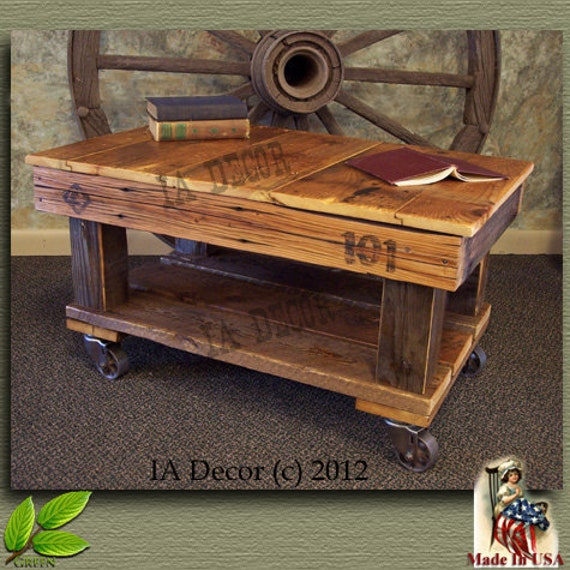 Factory cart coffee table antique style reclaimed wood by iadecor Antique wheels for coffee table