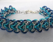 Blue, turquoise and aluminum elfweave braid bracelet