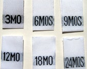 Mixed Lot of 120 pcs White Woven Clothing Labels, Size Tags - 3mo 6mo 9mo 12mo 18mo 24 mo -  20 pcs each size