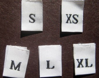 Mixed Lot of 125 pcs White Woven Clothing Labels, Size Tags - XS S M L XL - 25 pcs each size