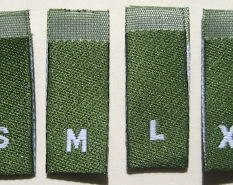 Mixed Lot of 50 pcs GREEN Woven Clothing Labels, Size Tags - S M L XL (13 pcs each size)