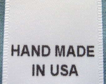 100 pcs  White Printed Clothing Labels, Care Label - Hand Made In USA