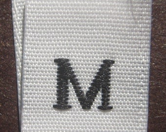 50 pcs White Woven Clothing Sewing Labels, Size Tags - Medium - M