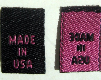 250 pcs  Black with Hot Pink Lettering Woven Clothing Labels, Care Label - Made In USA