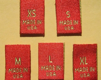 50 pcs Red Gold Woven Clothing Sewing Labels, Care Label: Made In USA - xs, s, m, l, xl