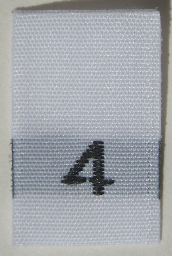 100 pcs White Woven Sew Clothing Labels, Toddler Size Tags -  Size 4 - Four