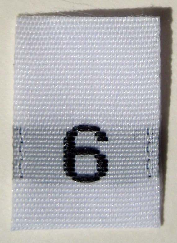 50 pcs White Woven Sew Clothing Labels, Toddler Size Tags -  Size 6 - Six