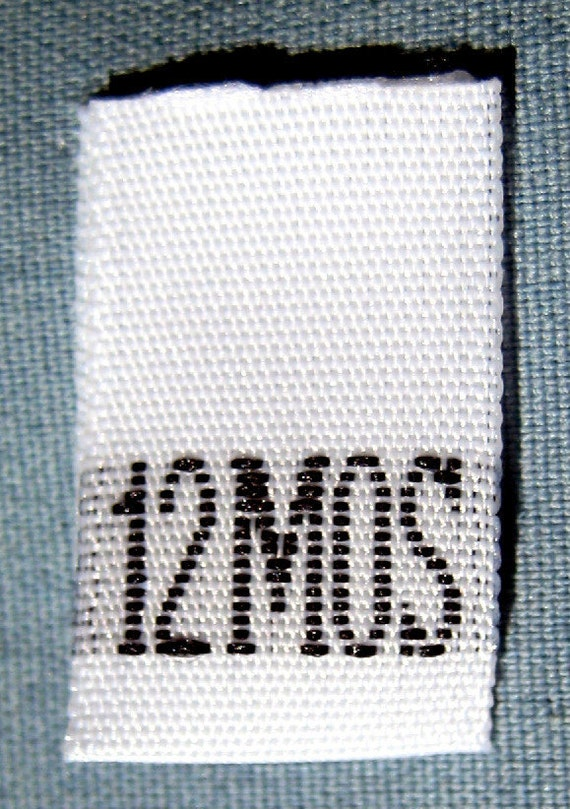 100 pcs White Woven Sew Clothing Labels, Toddler Size Tags -  Size 12MO - 12 Month