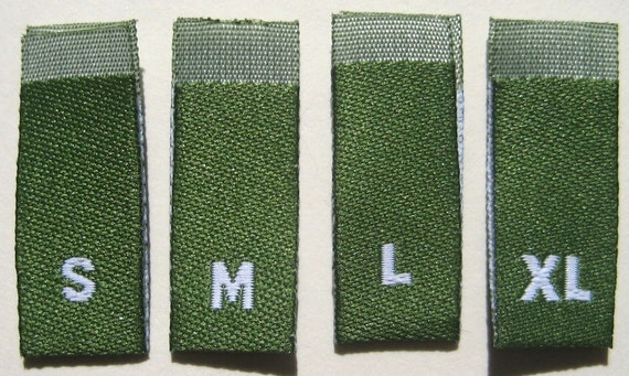 Mixed Lot of 100 pcs GREEN Woven Clothing Labels, Size Tags - S M L XL (25 pcs each size)