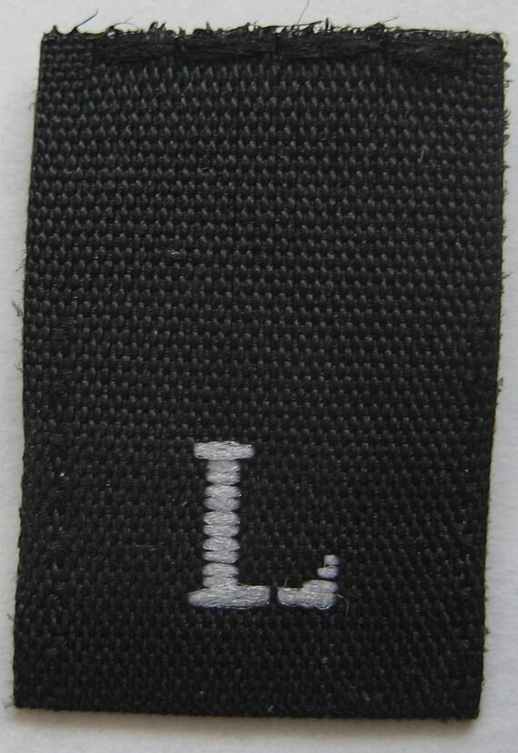 100 pcs BLACK Woven Clothing Labels, Size Tags - Large - L
