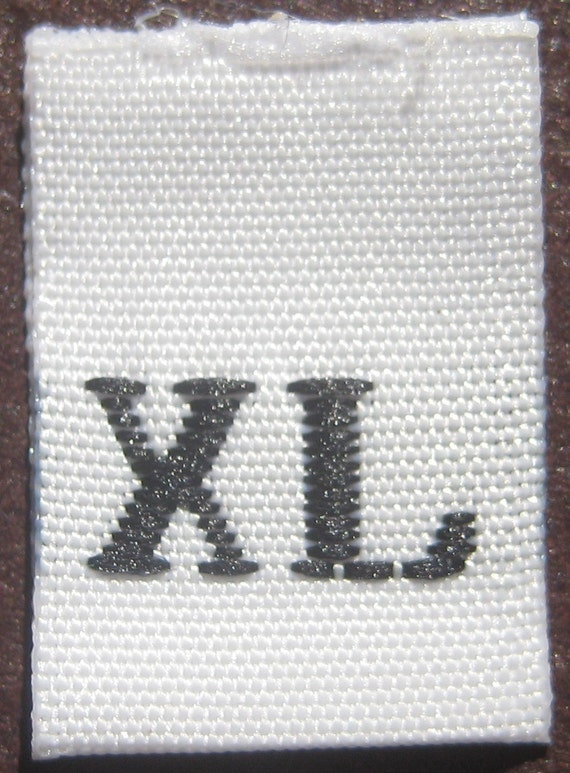100 pcs White Woven Clothing Sewing Labels, Size Tags - Extra Large - X-Large - XL