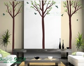Decal 3 tall trees with birds wall sticker nursery