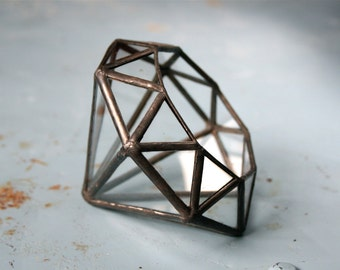 Diamond Faceted Terrarium - small //made with recycled glass// For air plants - small succulents - jewelry - rings - decoration