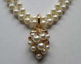 Pearl Necklace, Grape Cluster Necklace, Vintage Bridal Necklace