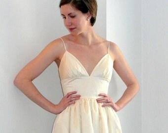 Custom Made Made in USA Wedding Dress  Principessa ( princess ) Tea Length Spaghetti Straps Pockets Open Back Low Front Buttons