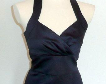 Isla Dress in Navy  Cotton Sateen