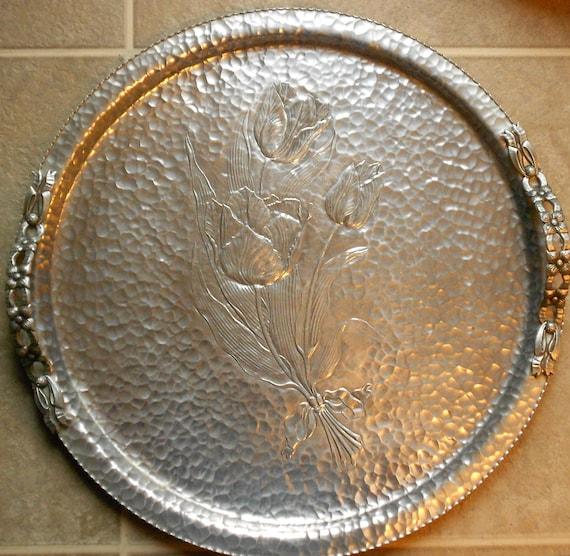 Large Serving Platter or Serving Tray - Hand Forged - Rodney Kent - Hammered Aluminum Charger - Vintage BreezyJunction