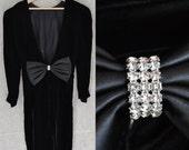 RESERVED FOR MEGAN // Black Velvet Dress / Small / Deep V with Back Bow and Straight Skirt