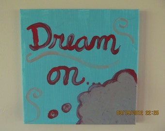 Dream on... original painting 12x12 turquoise, red