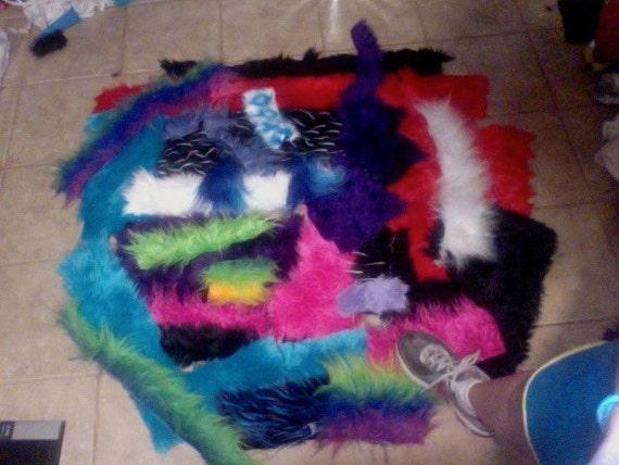 LARGE COLORFUL mixed Faux fur Scraps