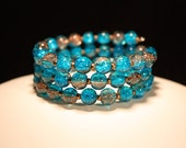 Turquoise & Brown Blend glass crackle bead memory wire bracelet