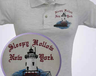 LIGHTHOUSE tee shirt  polo tank - Embroidered SLEEPY HOLLOW New York  with name if desired