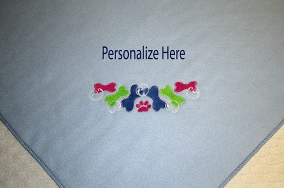 """Personalized Pet Blanket for Dog Cat or Puppy.  Handcrafted with a Colorful Bone Design.  Light Blue Fleece.  Larger Size 28"""" x 40"""""""